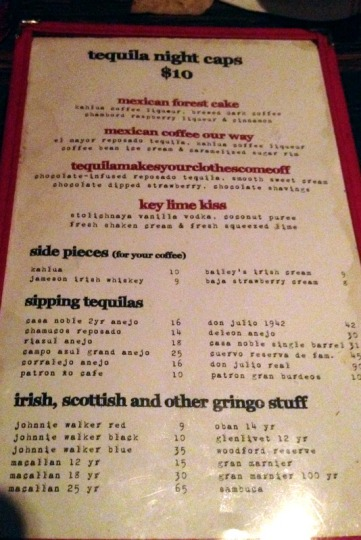 Tequila Night Cap Menu
